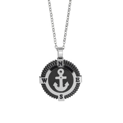 Steel necklace with black pvd and anchor decoration