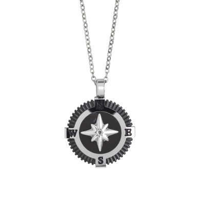 Steel necklace with decoration in black pvd and wind rose
