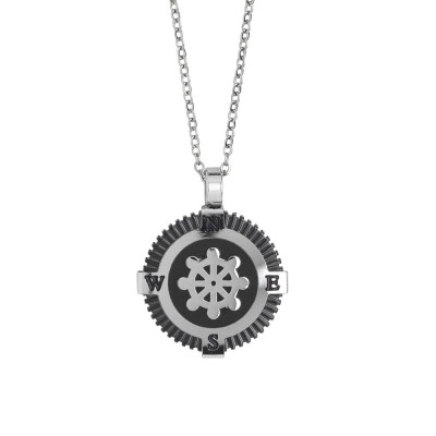Steel necklace with black pvd and rudder decoration