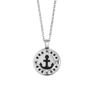 Necklace with anchor in black pvd and spinels