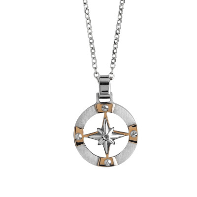 Steel necklace with wind rose and zircons