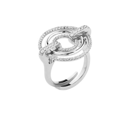 Ring in rhodium silver with concentric circles and zircons