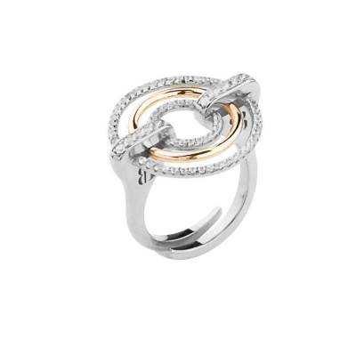 Silver ring with zircons and rose gold-plated circles