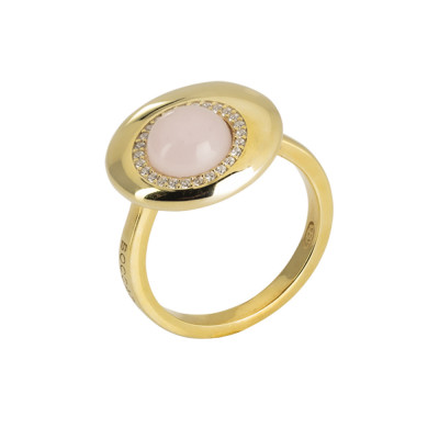 Moon eclipse ring with rose quartz crystal