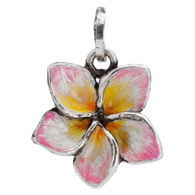 Charm with hand-painted frangipani