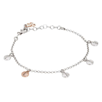 Silver bracelet with bicolor circular charms and zircons