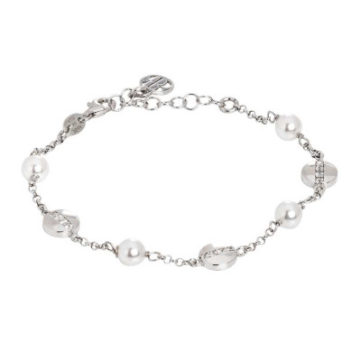 Rhodium-plated bracelet with Swarovski pearls and circular elements with cubic zirconia