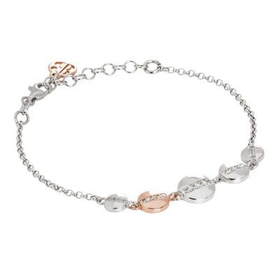 Bracelet with bicolor circular elements and zircons