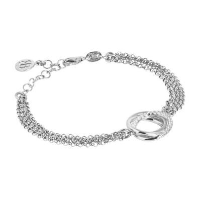 Double rhodium-plated silver bracelet with zircons decoration