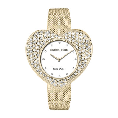 Gold watch with heart-shaped dial and Swarovski pavé
