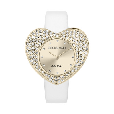 Clock with heart-shaped dial and white genuine leather strap