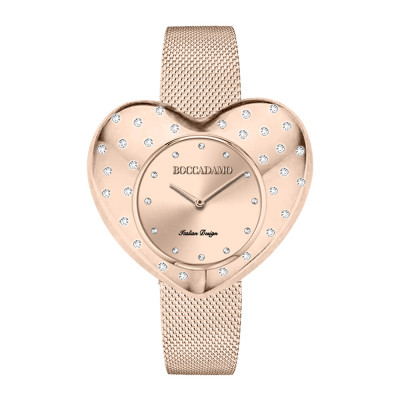Rose gold watch with heart-shaped dial and Swarovski crystals in rain