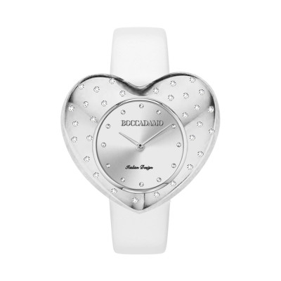 Watch with silver heart-shaped dial and white leather strap