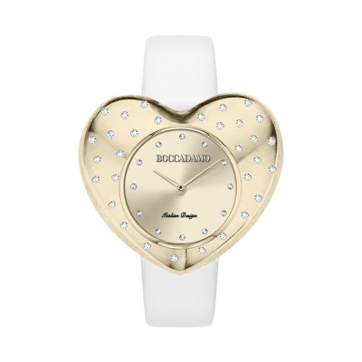 Gold heart-shaped watch with white leather strap