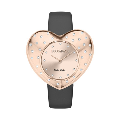 Rose gold heart-shaped watch with black leather strap