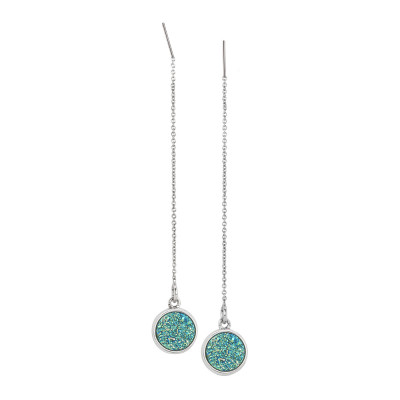 Drop earrings with druzy stone green water