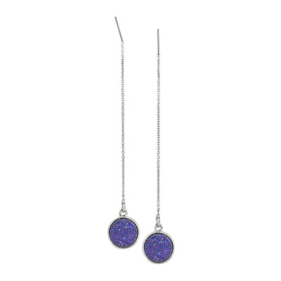 Drop earrings with purple druzy stone