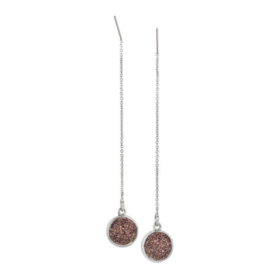 Drop earrings with bronze colored stone druzy