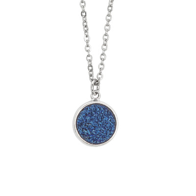 Necklace with blue druzy stone