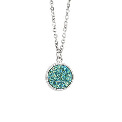 Necklace with druzy stone green water