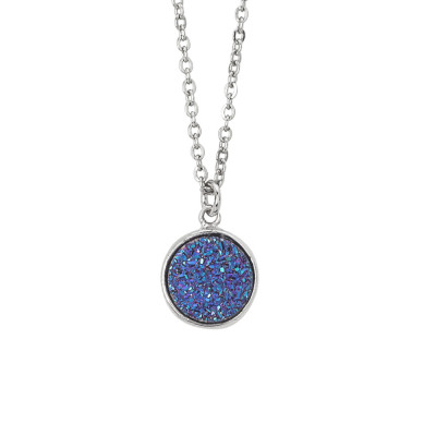 Necklace with purple stone druzy