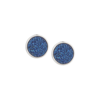 Stud earrings with blue druzy stone