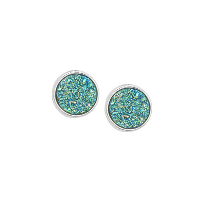 Stud earrings with druzy stone green water