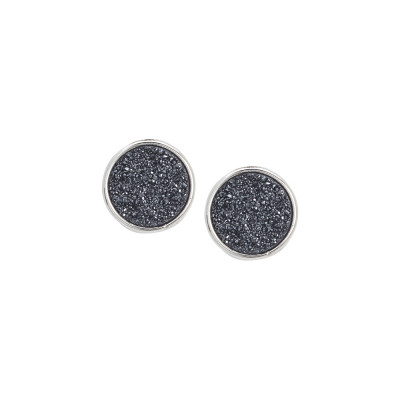 Stud earrings with druzy stone hematite color