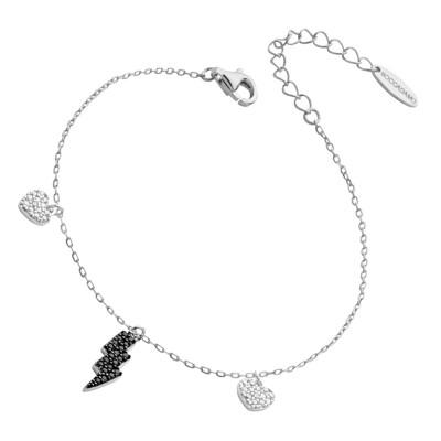 Bracelet with lightning and black zircon hearts