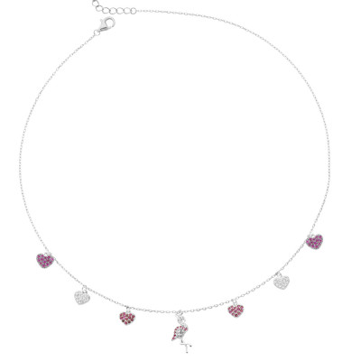 Necklace with flamingo and fuchsia cubic zirconia hearts
