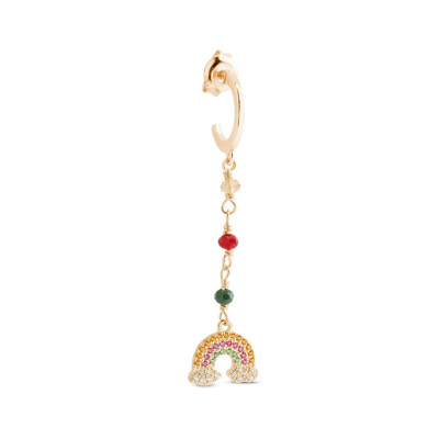Yellow gold plated earring with colored zircons and rainbow