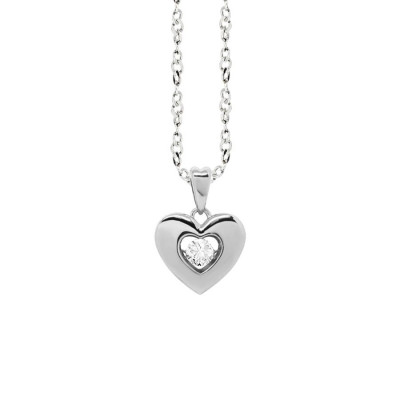 "Necklace with a pendant in the heart measure ""small"" and zircon"