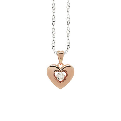 "Necklace bicolor with a pendant in the heart measure ""small"" and zircon"