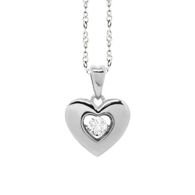 "Necklace with a pendant in the heart measure ""medium"" and zircon"