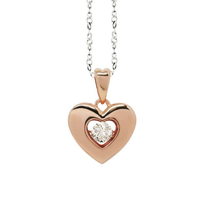 "Necklace bicolor with a pendant in the heart measure ""medium"" and zircon"