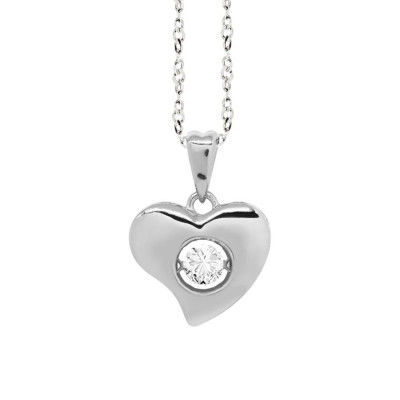 "Necklace Pendant with a curved heart measurement ""medium"" and zircon"