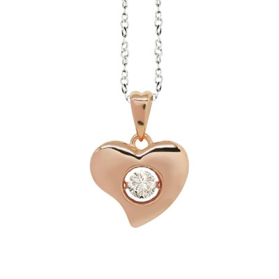 "Necklace bicolor pendant with a curved heart measurement ""medium"" and zircon"