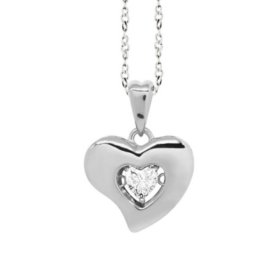 "Necklace Pendant with a curved heart measurement ""large"" and zircon"