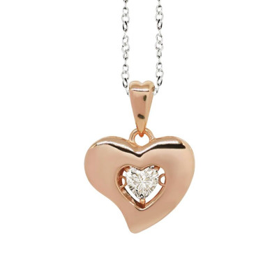 "Necklace bicolor pendant with a curved heart measurement ""large"" and zircon"