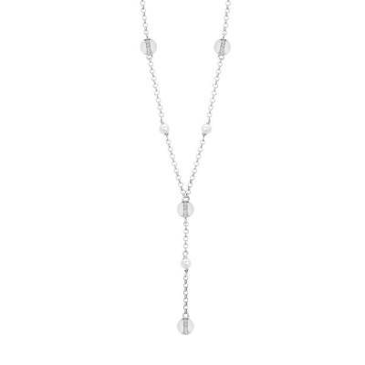 Necklace with Swarovski pearls and circular elements with cubic zirconia