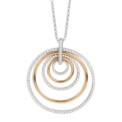Silver necklace and concentric pendant rose gold plated and cubic zirconia