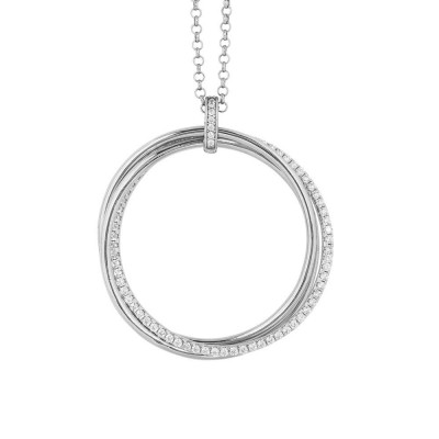 Silver necklace with maxi smooth pendant and zircons