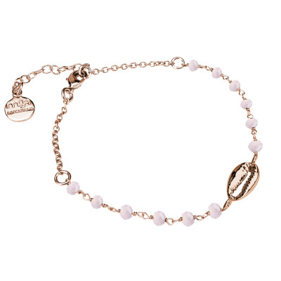 Rosé bracelet with pink milk and shell crystals