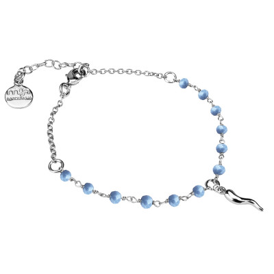 Bracelet with light blue crystals and lucky charm