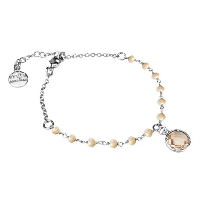 Bracelet with beige crystals and peach crystal