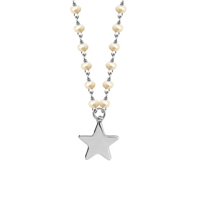 Necklace with beige and star crystals