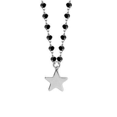Necklace with black crystals and star