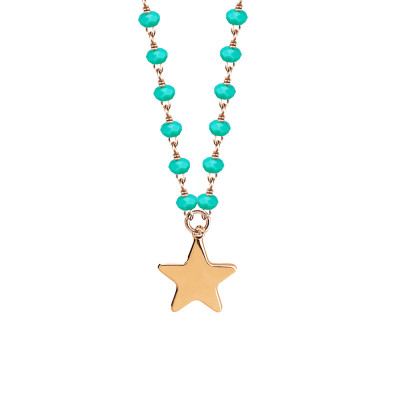 Rosé necklace with green crystals and star