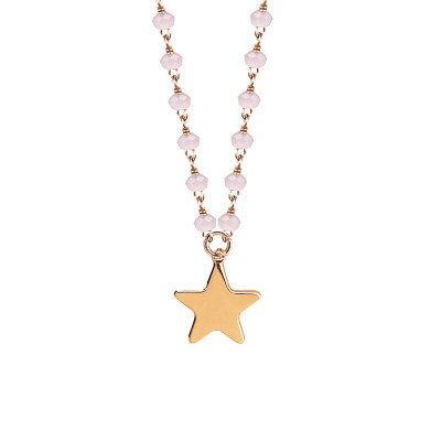Rosé necklace with pink milk and star crystals