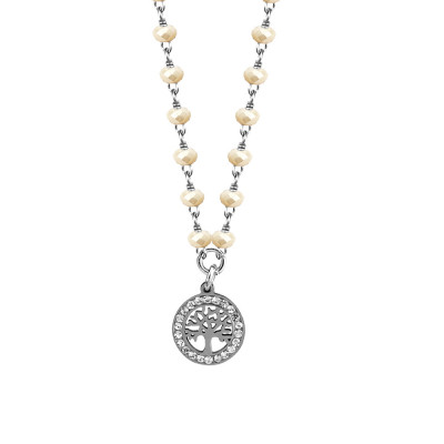 Necklace with beige crystals and tree of life
